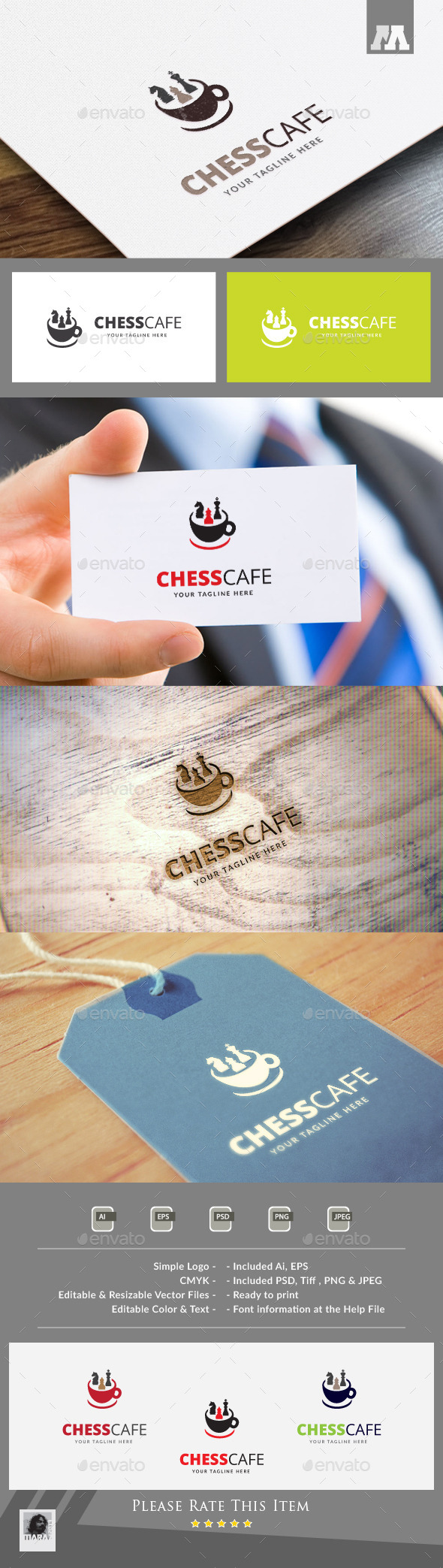 Chess Cafe Logo Template - Food Logo Templates