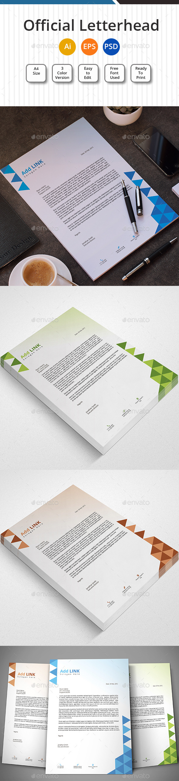 Official Letterhead  - Stationery Print Templates