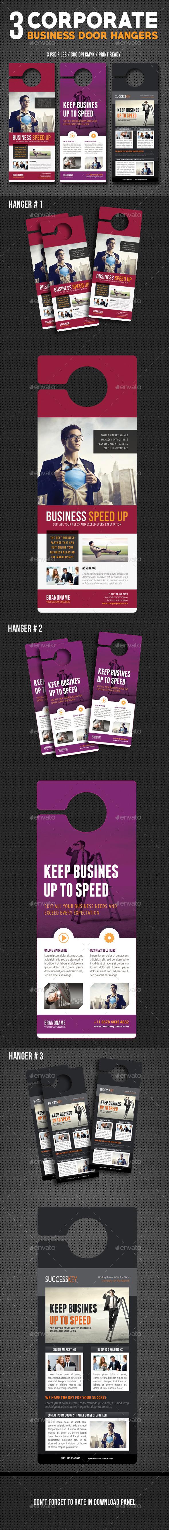 3 Corporate Business Door Hanger Bundle 02 - Miscellaneous Print Templates
