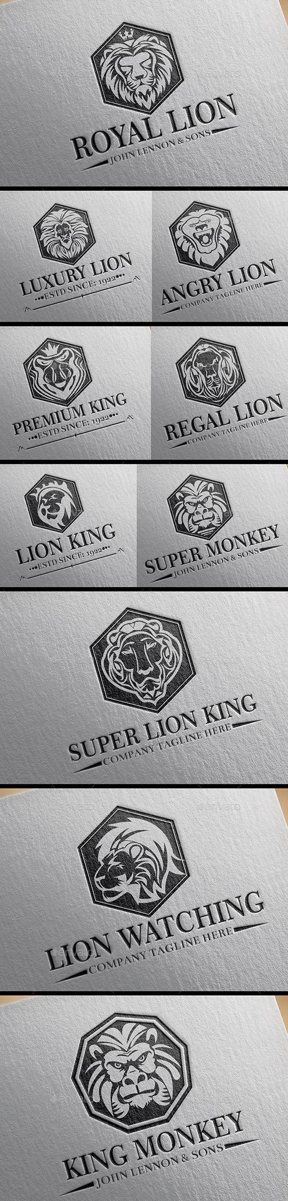 Heraldic Lion Crest Logos Vol 11