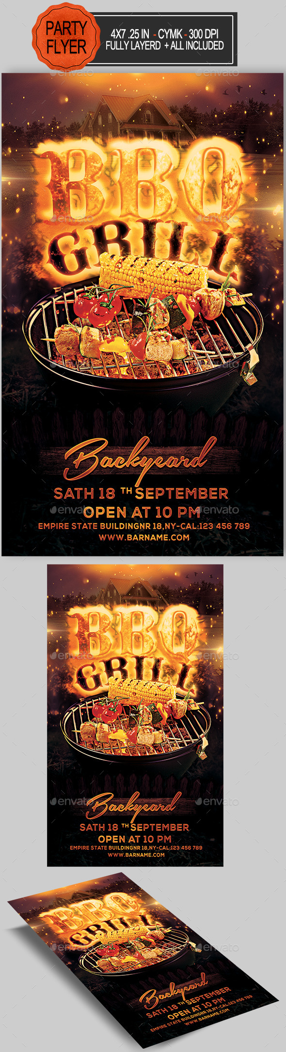 Bbq Grill Backyard Flyer - Clubs & Parties Events