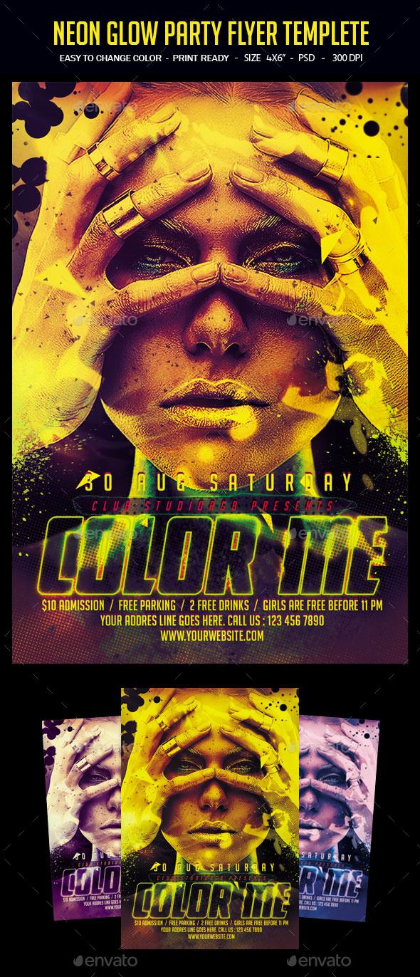 Neon Glow Party Flyer Template - Clubs & Parties Events