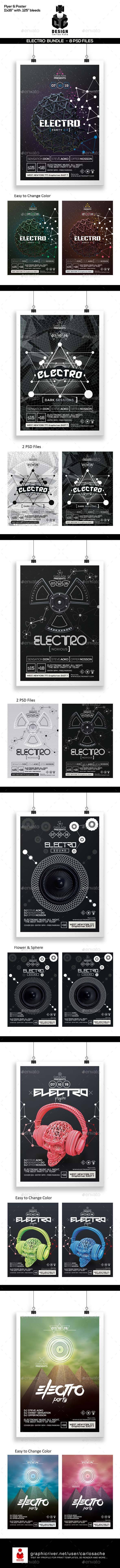 Electro Bundle Poster & Flyer Templates  - Clubs & Parties Events