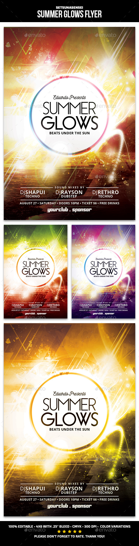 Summer Glows Flyer - Clubs & Parties Events