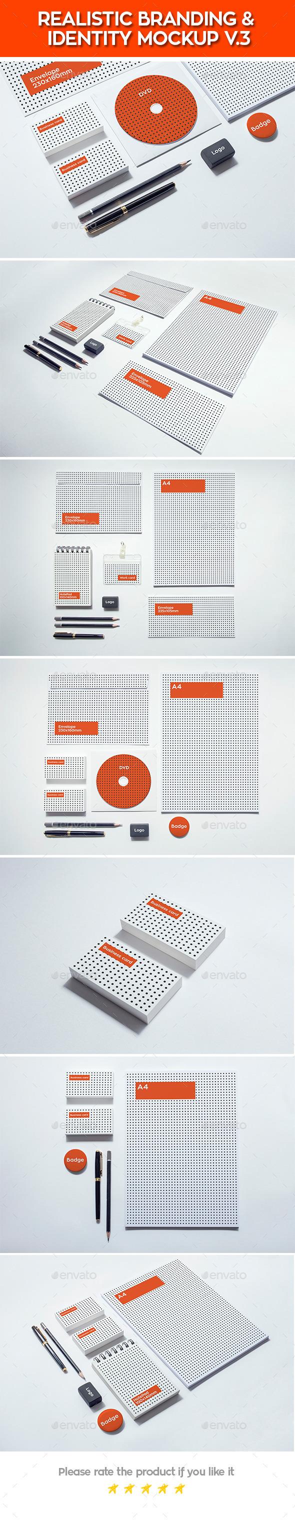 Realistic Branding & Identity Design Mockups V3 - Stationery Print