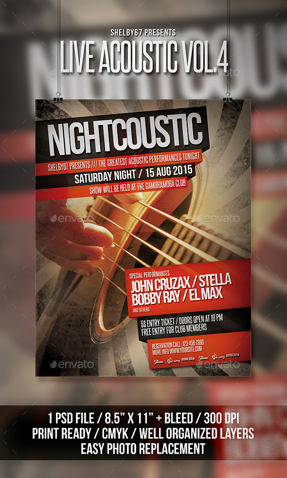 Live Acoustic Flyer / Poster Vol 4 - Events Flyers