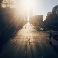 A walking Girl in Chicago street at early Morning - PhotoDune Item for Sale
