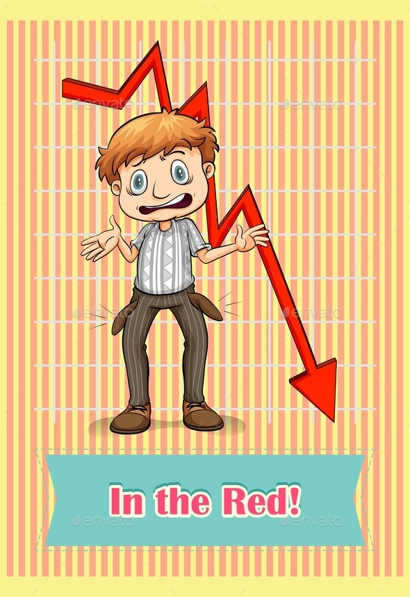 Idiom Saying in The Red - People Characters