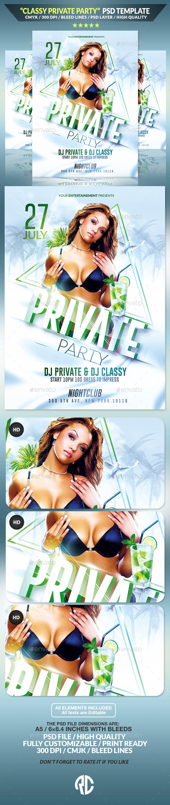 Classy Private Party | Psd Flyer Template - Events Flyers