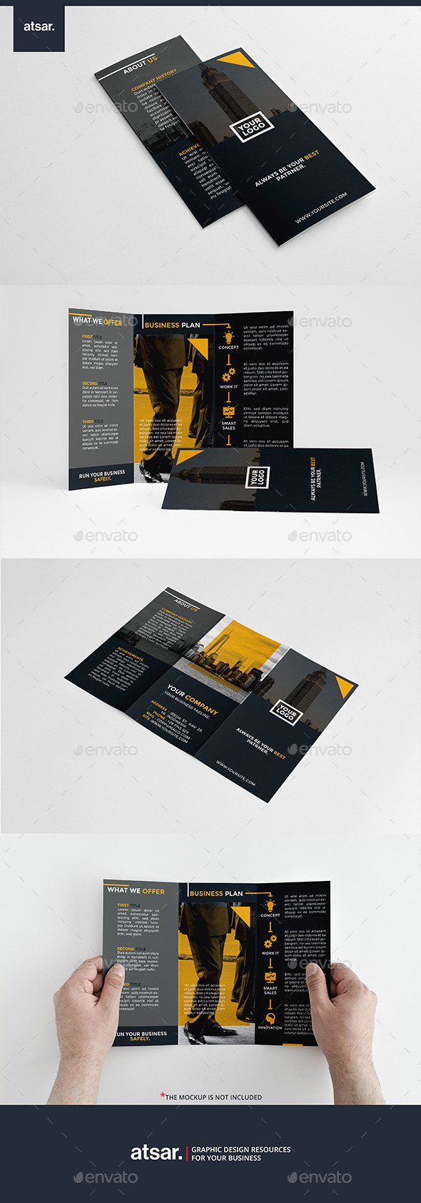 Modern Dark Yellow Trifold - Corporate Brochures