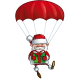 Happy Santa - Parachute Holding a Gift - GraphicRiver Item for Sale