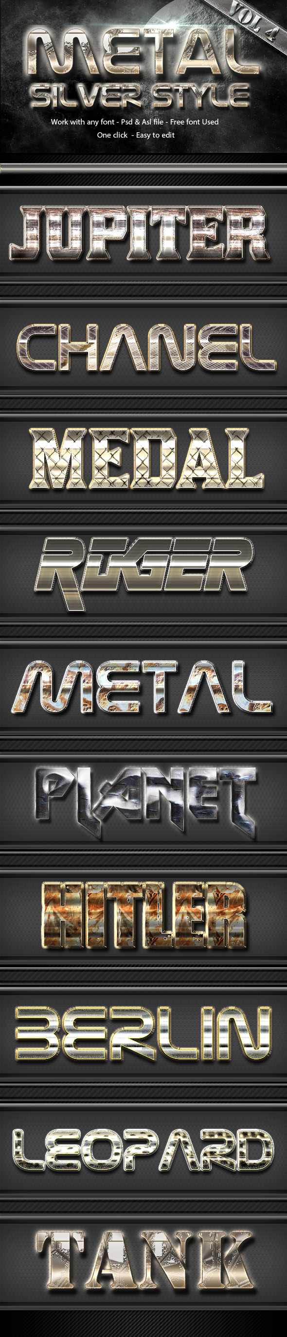 Metal Silver Text Effect Style Vol 4 - Text Effects Styles