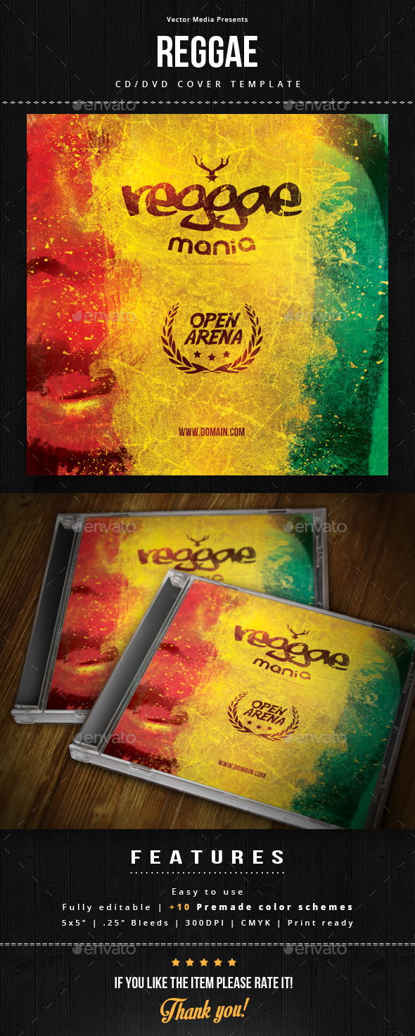 Reggae - Cd Cover - CD & DVD Artwork Print Templates