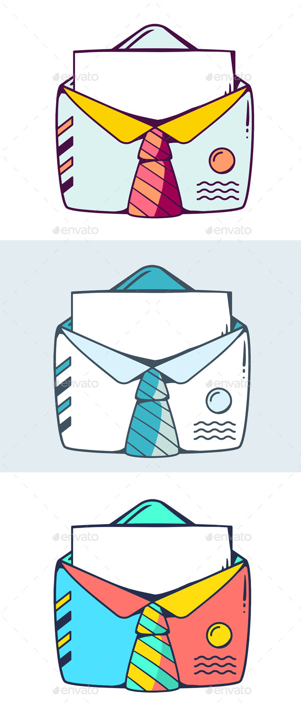 Colorful Open Office Style Envelope - Decorative Symbols Decorative