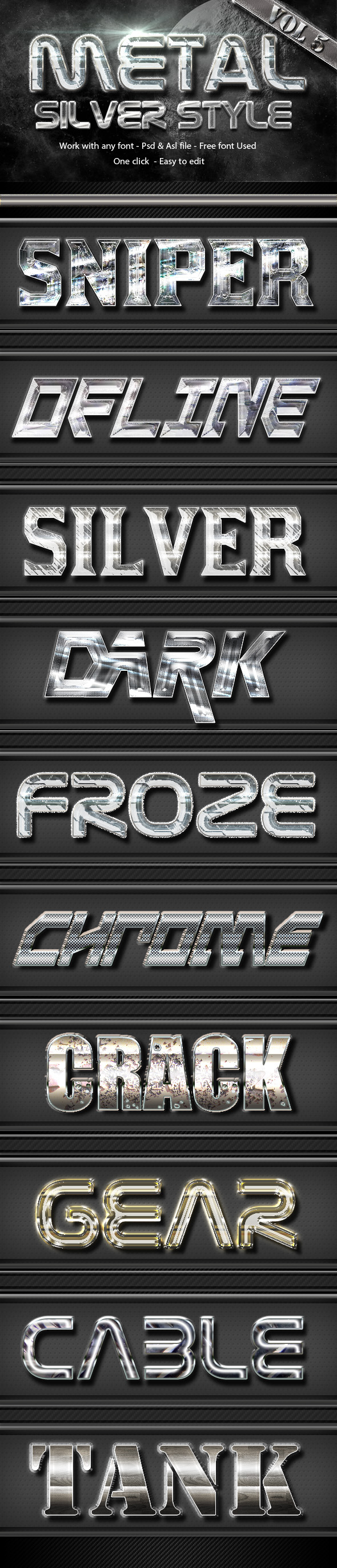 Metal Silver Text Effect Style  Vol 5 - Text Effects Styles