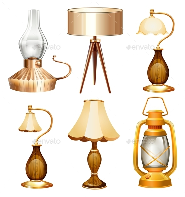 Vintage Design of Lamps - Objects Vectors