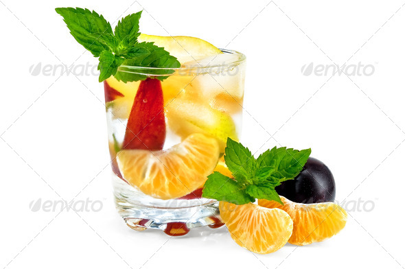 Fruit cocktail in a glass with plums - Stock Photo - Images