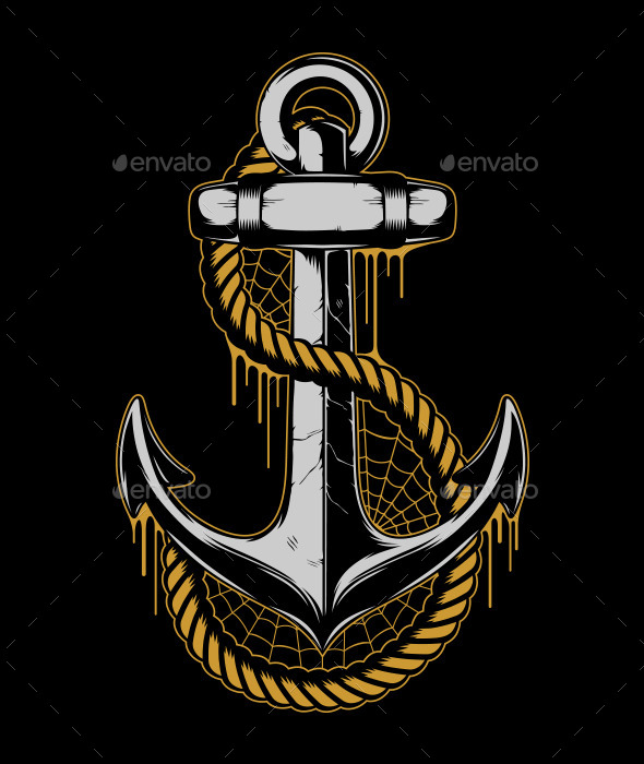 Anchor with Rope and Cobweb - Decorative Symbols Decorative