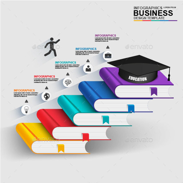 Abstract 3D digital business education Infographic - Infographics