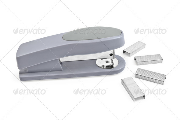 Gray stapler with staples - Stock Photo - Images