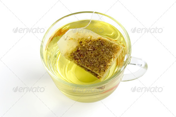 Green tea bags - Stock Photo - Images