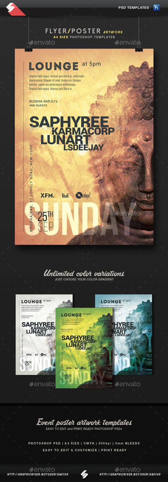 Buddha Lounge - Chillout Event Flyer Template A4 - Clubs & Parties Events