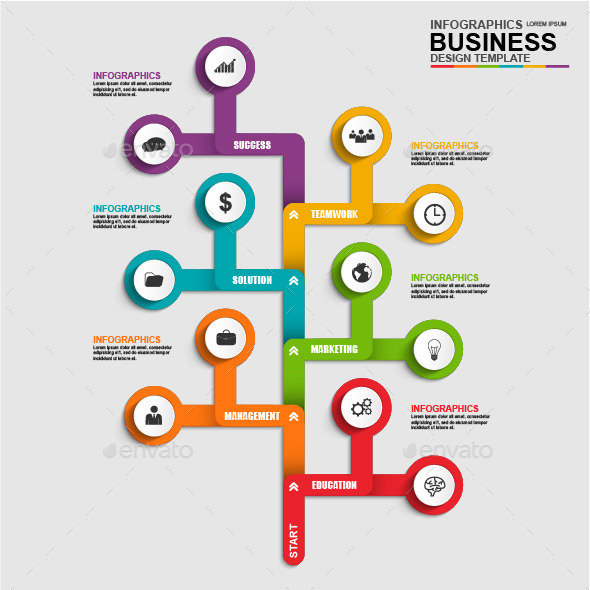 Abstract 3D Business Tree Timeline Infographic - Infographics