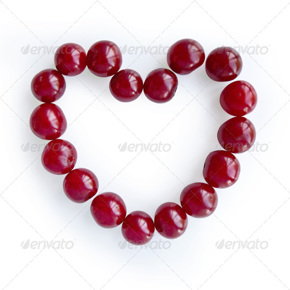 Heart of cherries - Stock Photo - Images