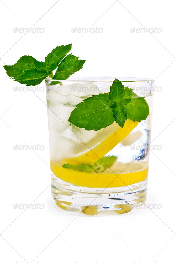 Ice water lemon and mint - Stock Photo - Images
