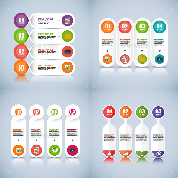Set of Abstract 3D Digital Business Infographic - Infographics