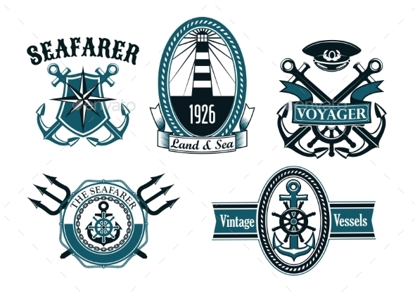 Nautical Seafarer Voyager and Anchors Symbols - Tattoos Vectors