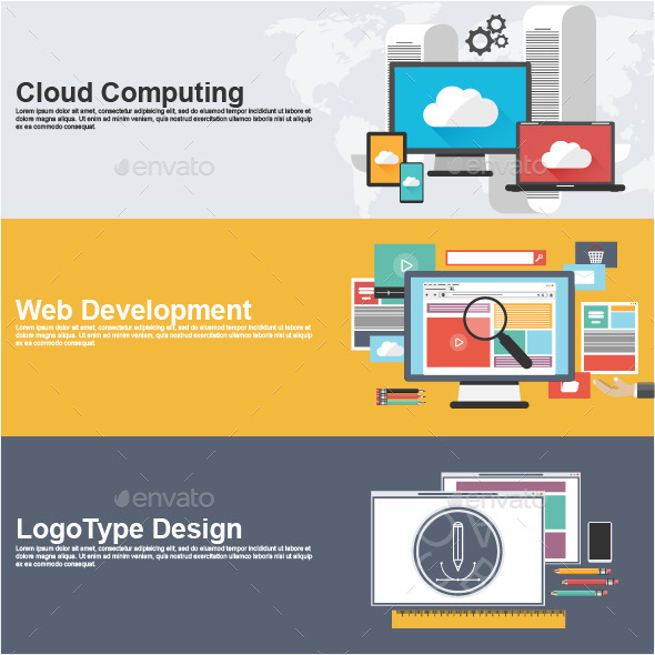 Flat Design Concepts for Cloud Computing - Concepts Business