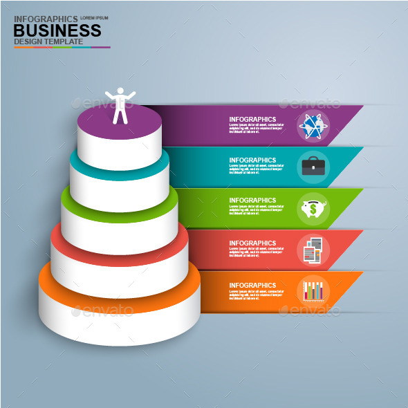 Abstract 3D Digital Business Pyramid Infographic - Infographics