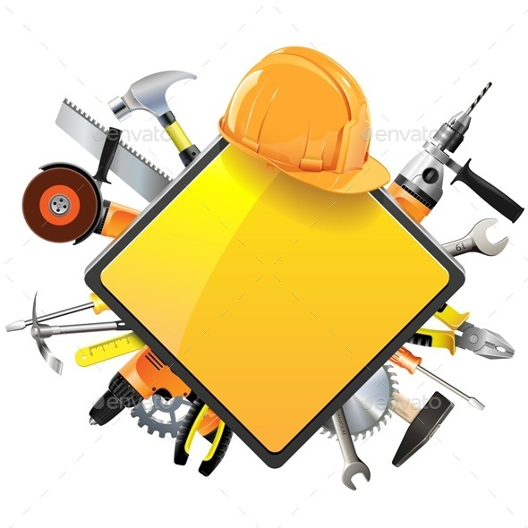 Construction Sign with Tools - Industries Business