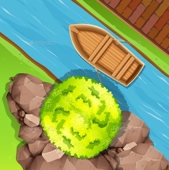 Aerial View of Boat in Stream - Landscapes Nature