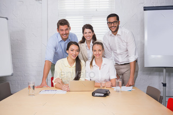 Business people working together at meeting on computer in the office