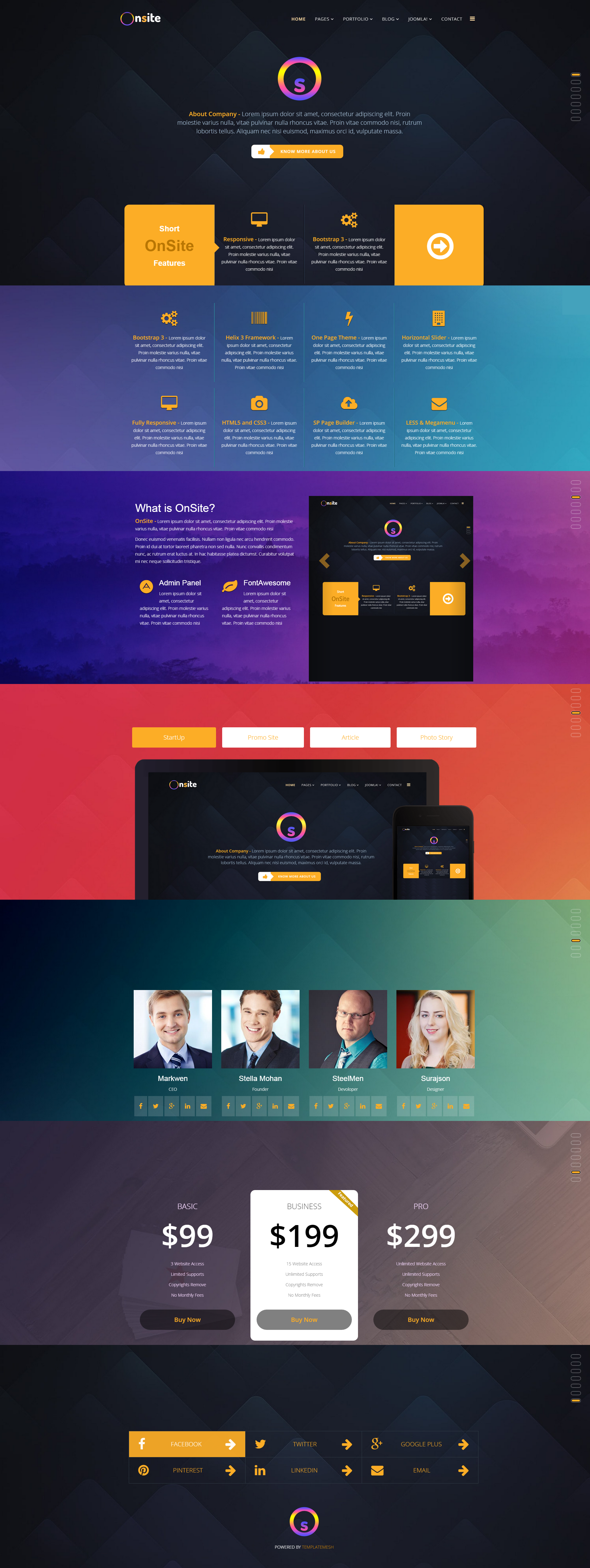 Onsite One Page Business Joomla Template By Pcmshaper Themeforest