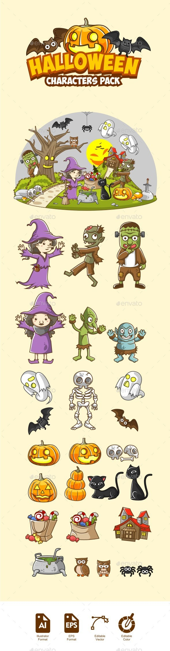 Halloween Characters Illustrations Pack