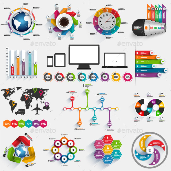 Bundle of Business Infographics Vector Design - Infographics