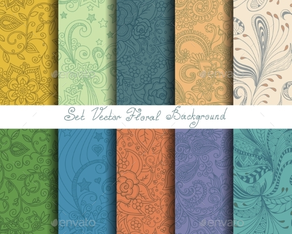 Set of Seamless Floral Ornaments - Patterns Decorative