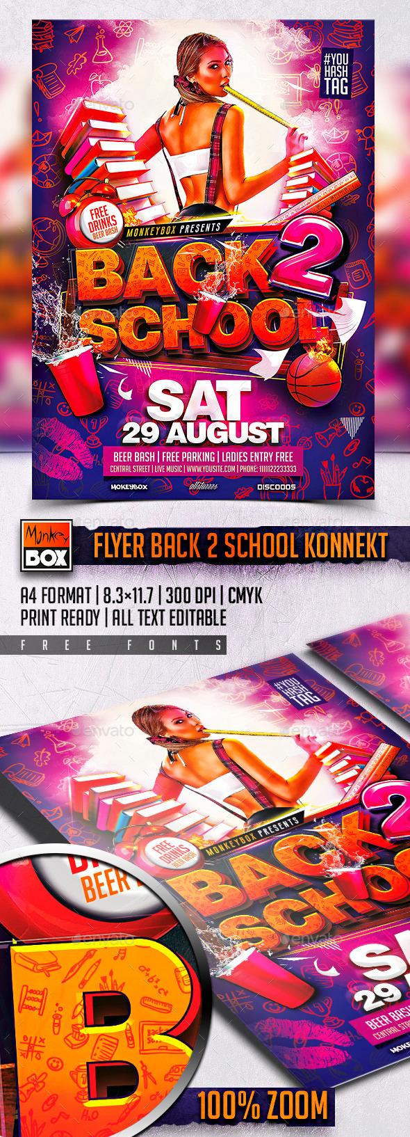 Flyer Back 2 School Konnekt - Events Flyers