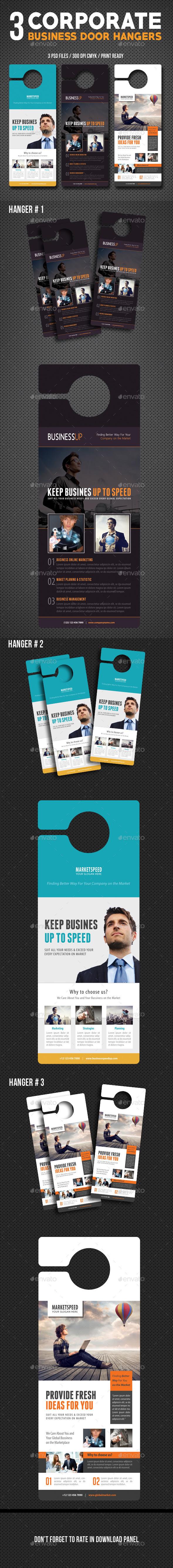 3 Corporate Business Door Hanger Bundle 03 - Miscellaneous Print Templates