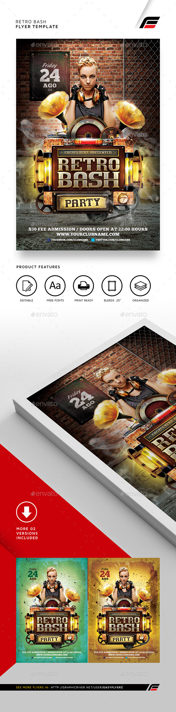 Retro Bash Flyer Template - Events Flyers