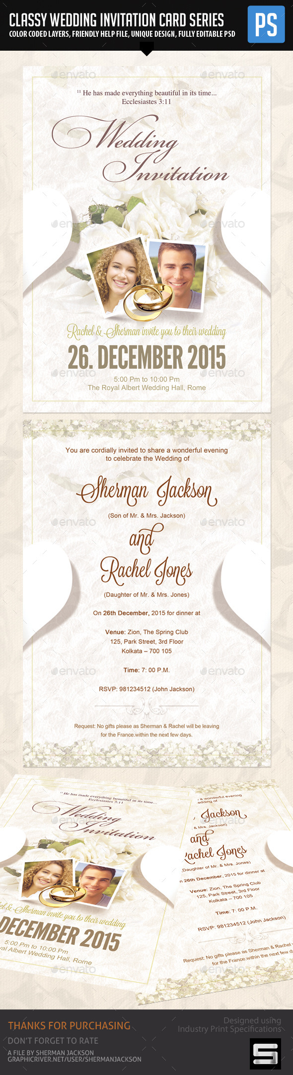 Classy Wedding Invitation 02 - Weddings Cards & Invites