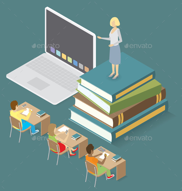 3D Flat Isometric with Education Concept - People Characters