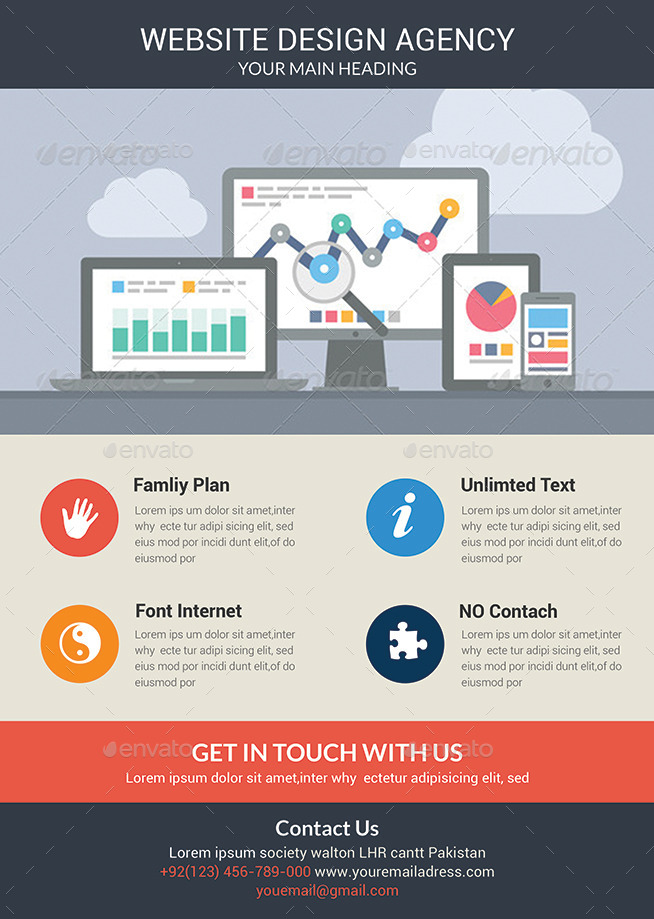 Awesome Website Design Agency Flyer Template By Afjamaal Graphicriver .