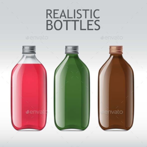 Realistic Glass Bottles Empty Transparent Set - Man-made Objects Objects