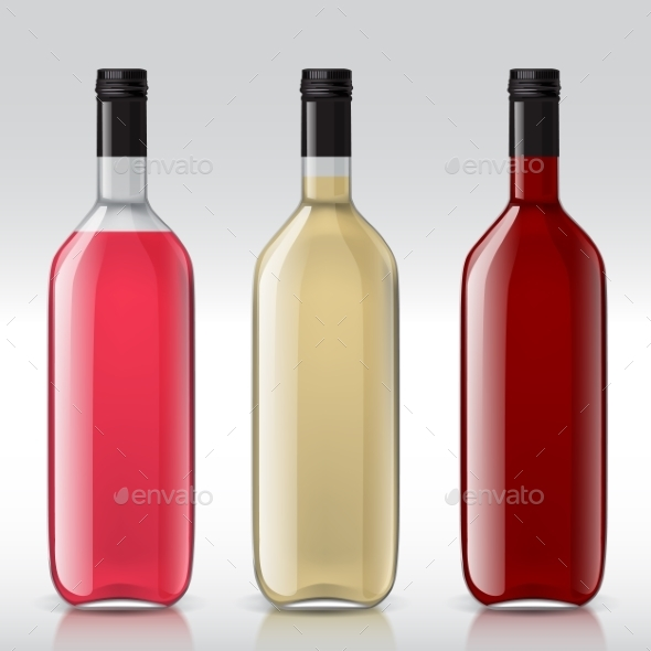 Set of Transparent Bottles for Different Wines - Man-made Objects Objects
