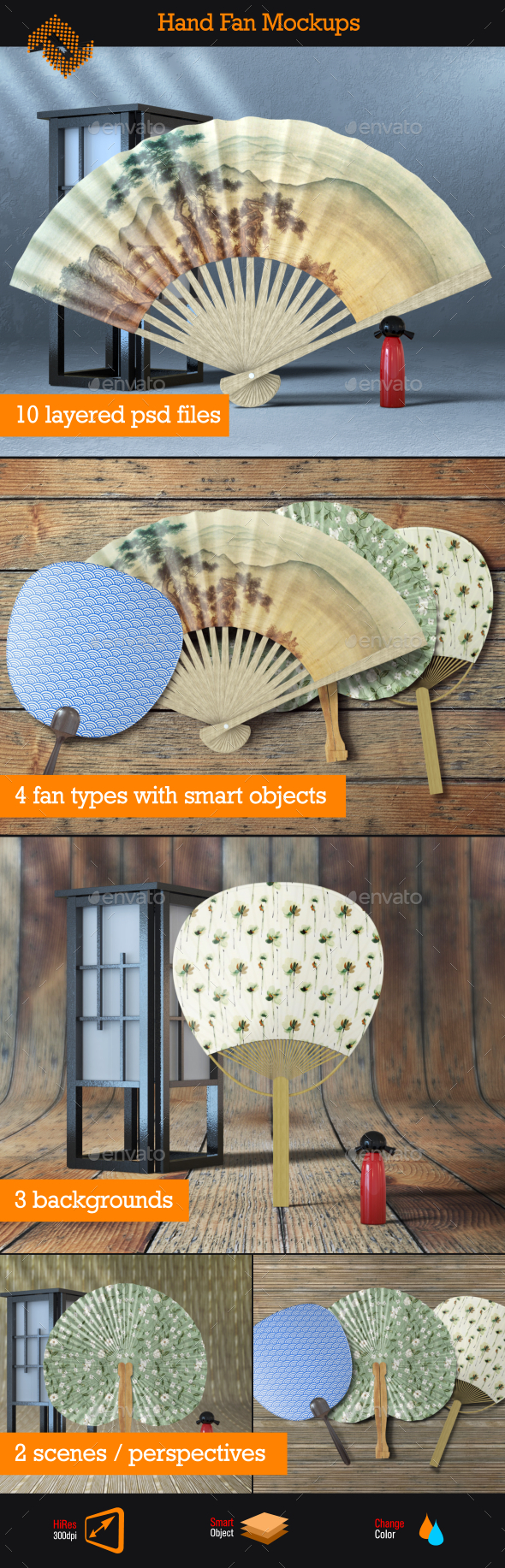 4 Hand Fan Mockups - Product Mock-Ups Graphics
