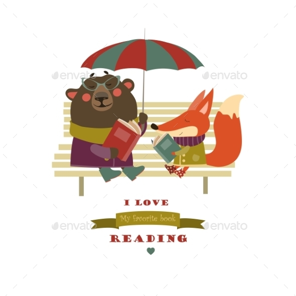Fox and Bear Reading Books on Bench - Animals Characters